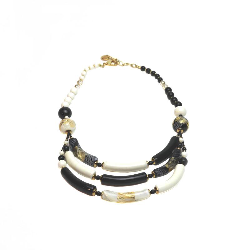 Murano Glass Capricia Necklace White Black