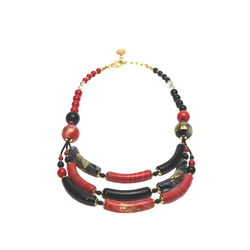 Murano Glass Capricia Necklace Coral Black