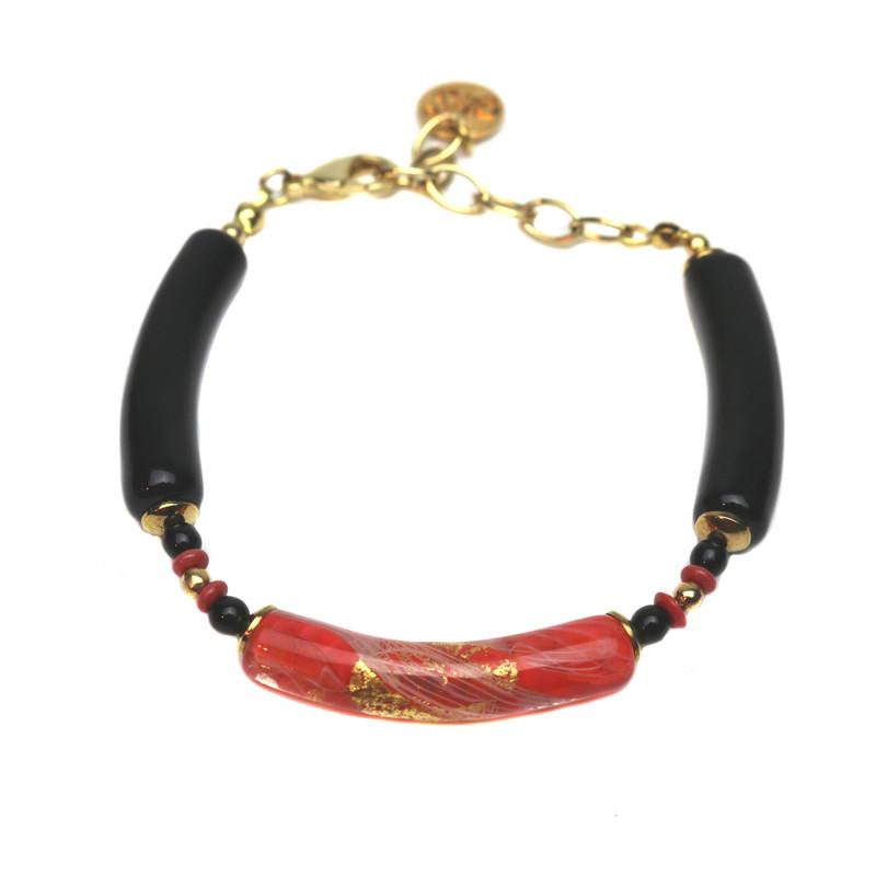 Murano Glass Capricia Bracelet Coral Black