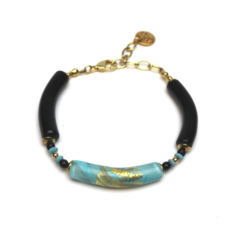 Murano Glass Capricia Bracelet Turquoise Black