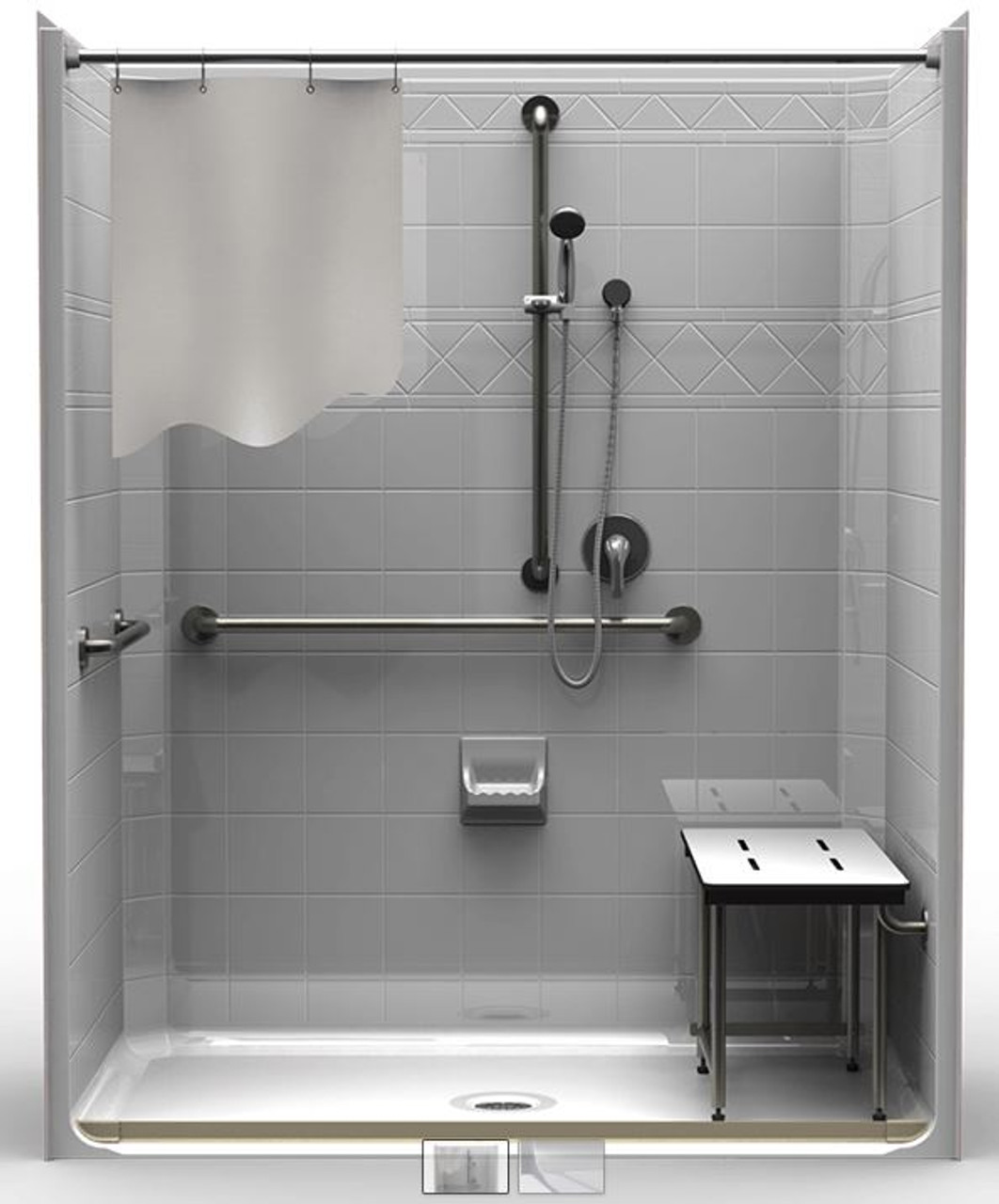 5 Piece Ada Roll In Shower With Center Drain Careprodx