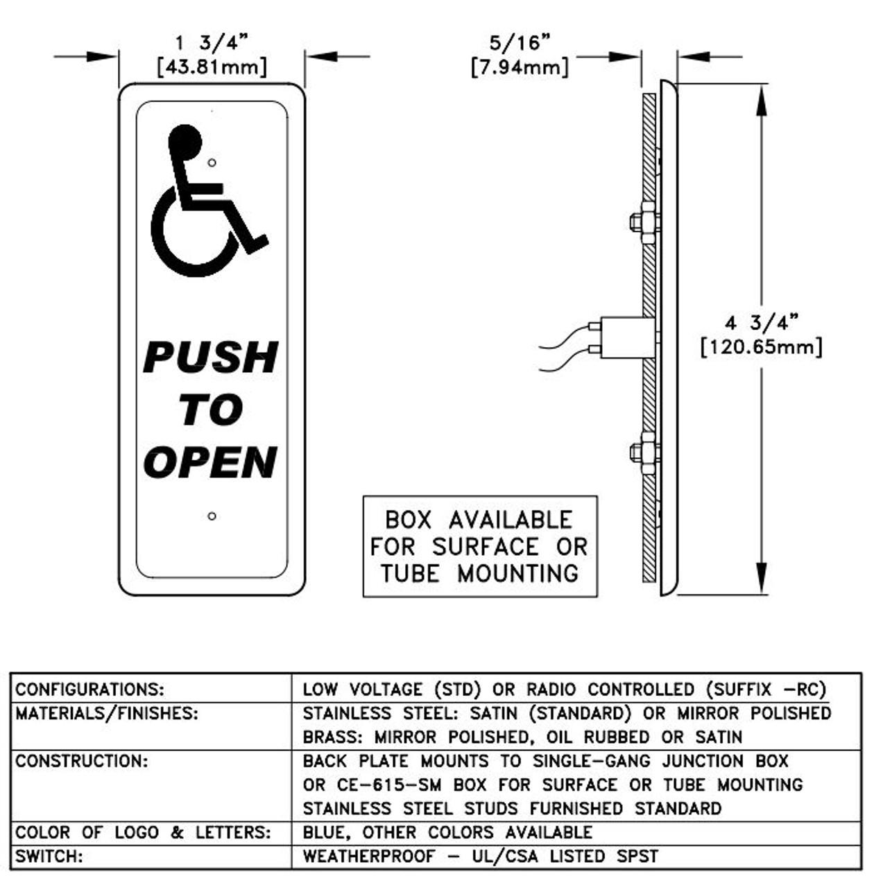 Slender Push Plate Actuator 1 3 4 Quot Careprodx