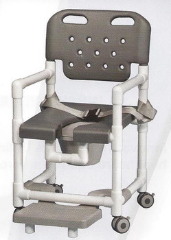 Elite Series Rolling Shower Commode Chair With Footrest and Seat Belt