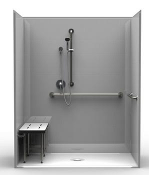 ADA Roll-In Shower 63 X 31 Center Drain
