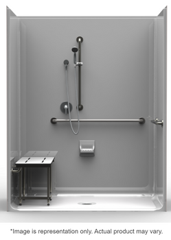 4 Piece ADA Roll-In Shower With Center Drain 63 X 31