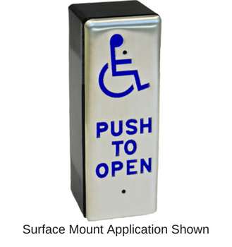 Rutherford Controls 950HP6-MO x 32D Push to Open Handicap Pushplate Pack of 3 pcs