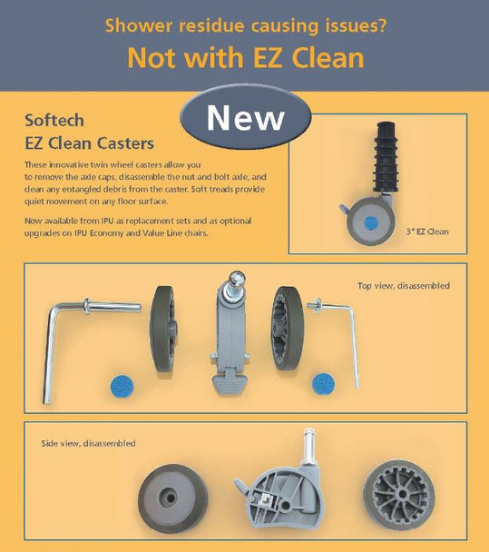 """EZ Clean 3"""" Casters For IPU Shower Chairs"""