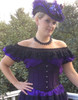 Blouse Paired With Black/Purple Waspie Corset. Blouse can be worn off shoulders