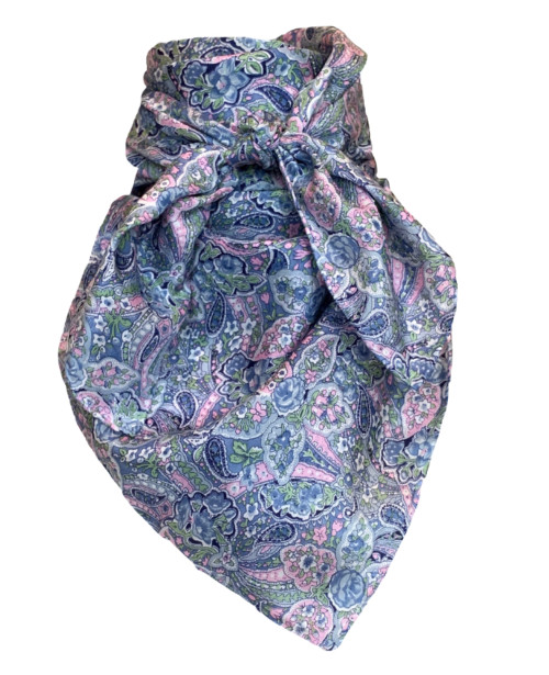 Calico Blue and Pink Paisley