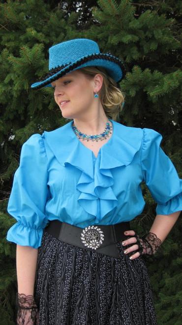 Ruffle Vee Blouse - Turquoise