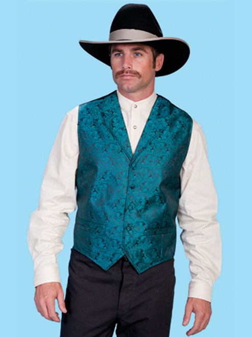 Scully Paisley Vest  Teal