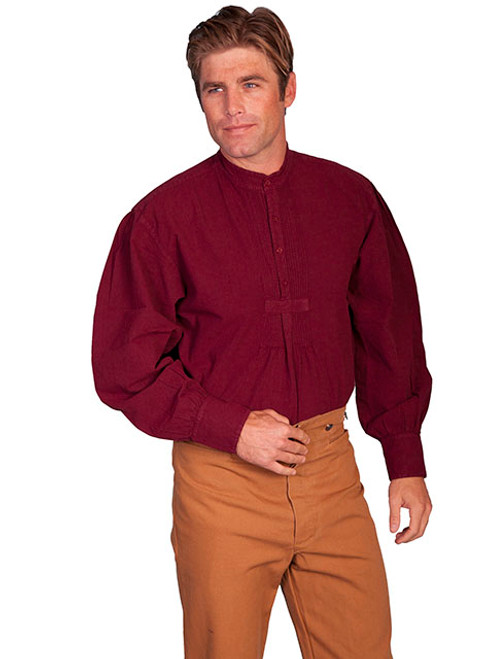 Scully Pleated Front Pullover Shirt Burgundy