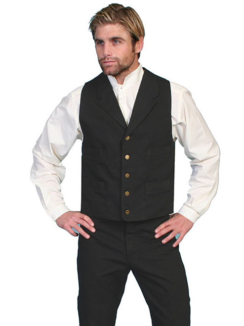Scully Cotton Canvas Vest -BLK