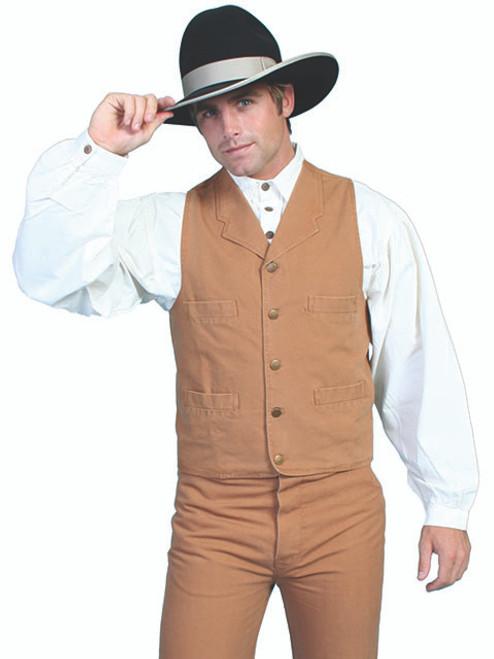 Scully Cotton Canvas Vest-BRN