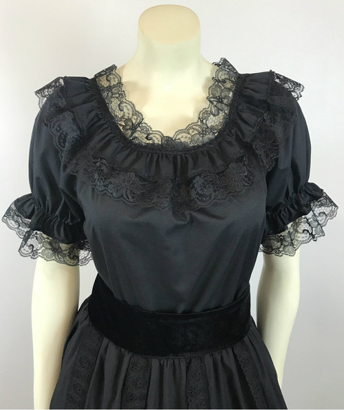 Lace Trim Ruffle Top - Black