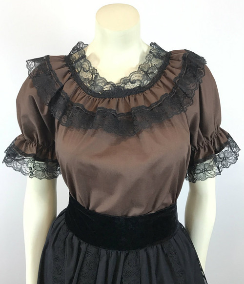 Lace Trim Ruffle Top - Brown/Black