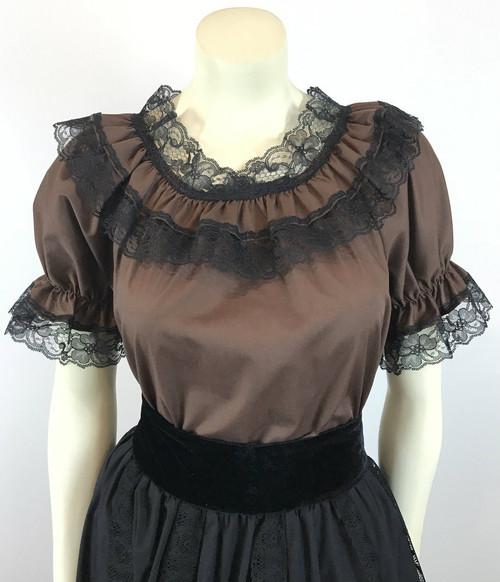 Lace Trim Ruffle Top - Brown/Black