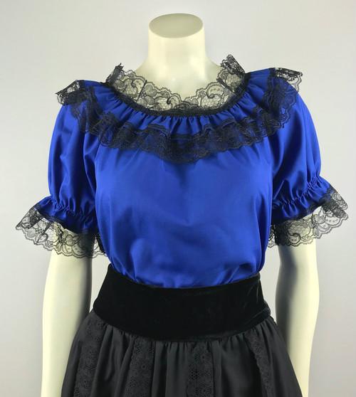 Lace Trim Ruffle Top - Royal/Black