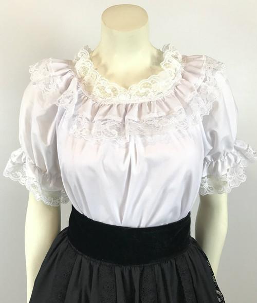 Lace Trim Ruffle Top - White