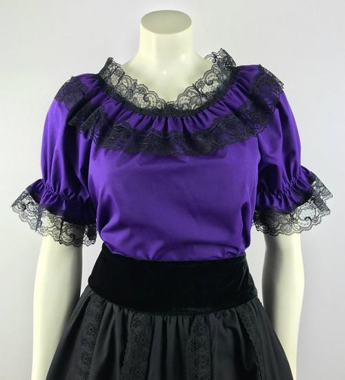 Lace Trim Ruffle Top - Purple/Black
