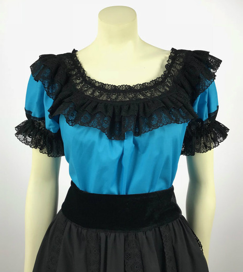 Fiesta Blouse - Turquoise/Black