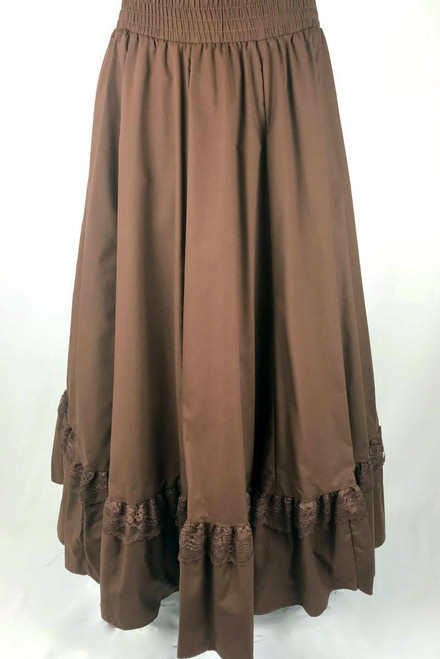 Ruffle Lace Skirt - Brown
