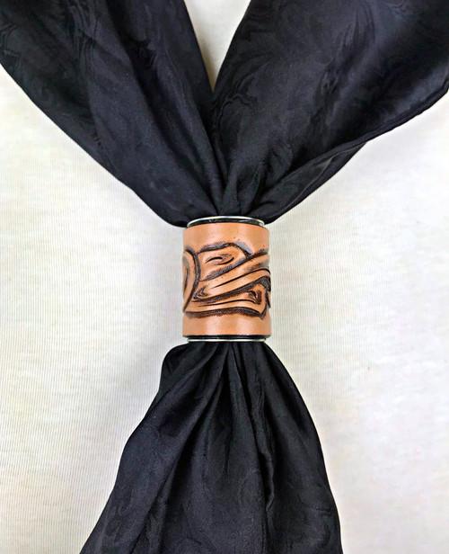 Leather Floral Scarf Slide