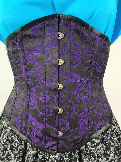 Steel Boned Purple/Black Brocade Waspie Corset