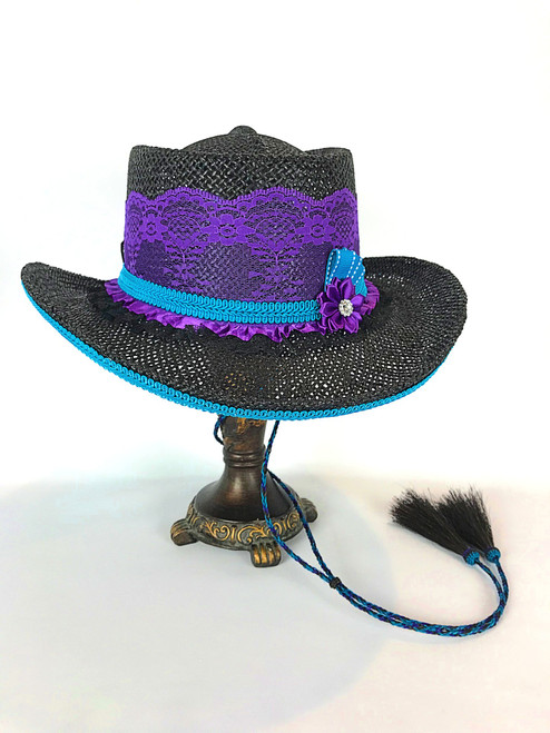 Lace Shooter Hat- Turquoise/Purple