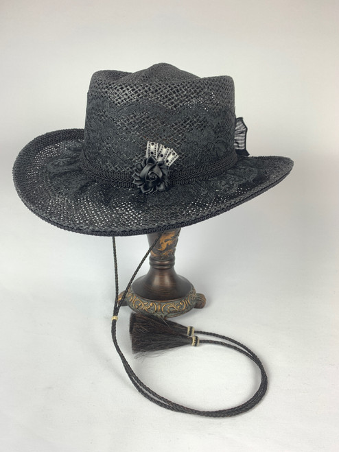 Lace Shooter Hat- Black
