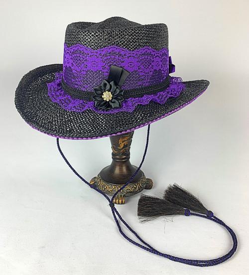 Lace Shooter Hat- Purple/Black