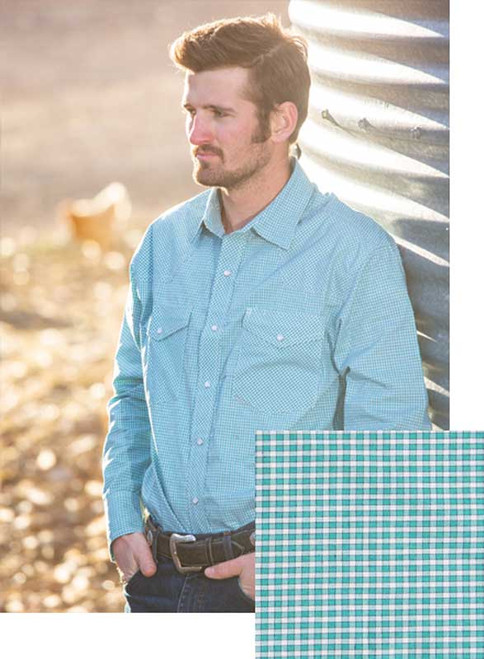 Wyoming Traders Green/White Western Snap Shirt