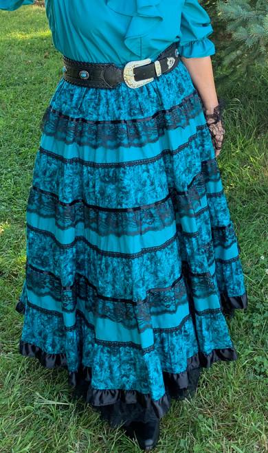 Ribbon Lace Skirt - Jade