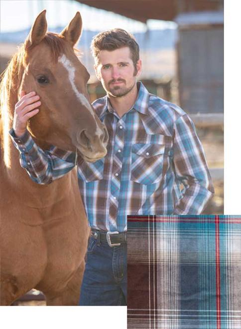 Wyoming Traders Blue/Brown Western Snap Shirt