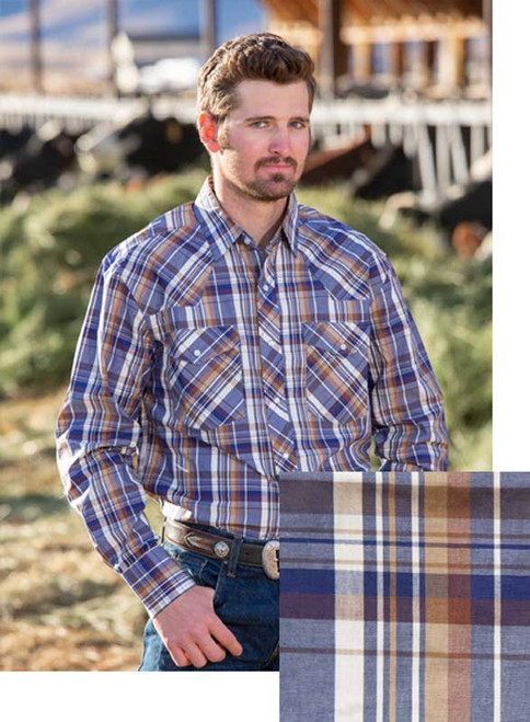 Wyoming Traders Blue/Tan Western Snap Shirt