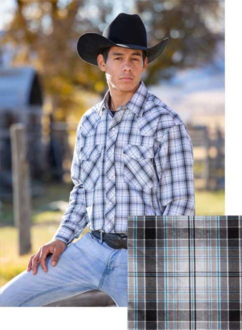 Wyoming Traders Silver/Black Western Snap Shirt