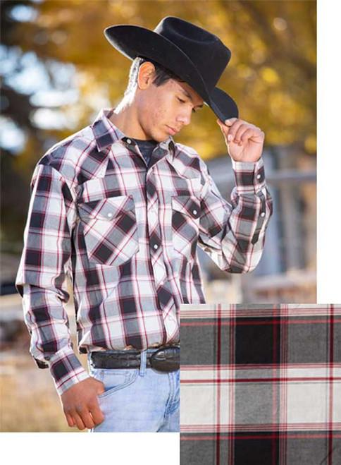 Wyoming Traders Black/White/Red Western Snap Shirt