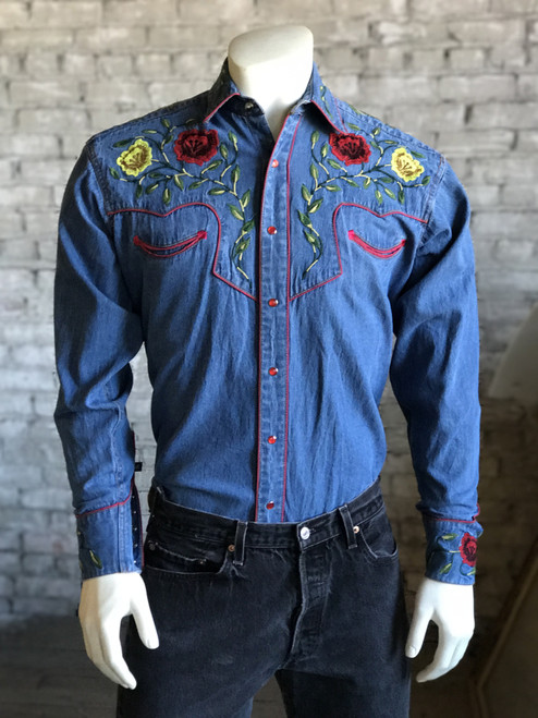 Men's Floral Embroidered Vintage Denim Shirt