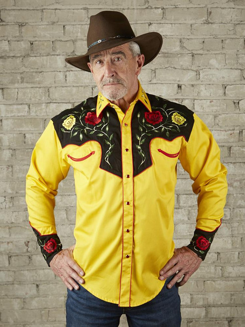Men's 2-Tone Yellow & Black Floral Embroidery Western Shirt