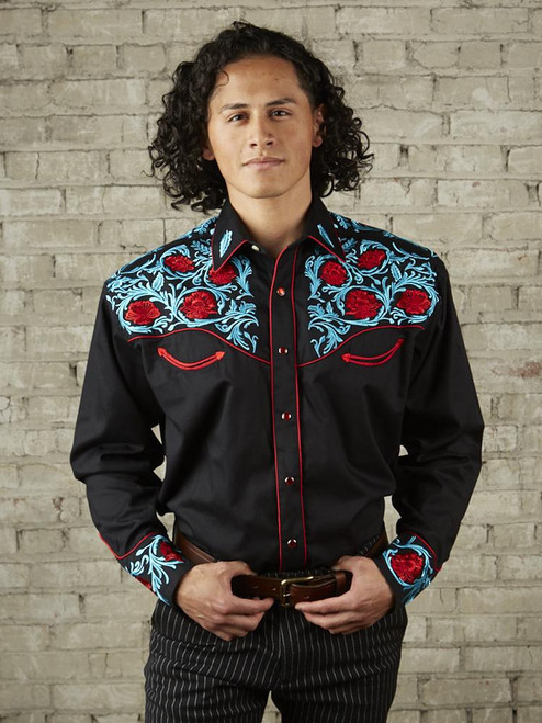 Men's Black Vintage Shirt with Red Floral & Turquoise Embroidery