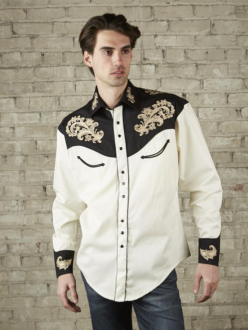 Men's Natural & Black Vintage Shirt with Tan Floral Embroidery