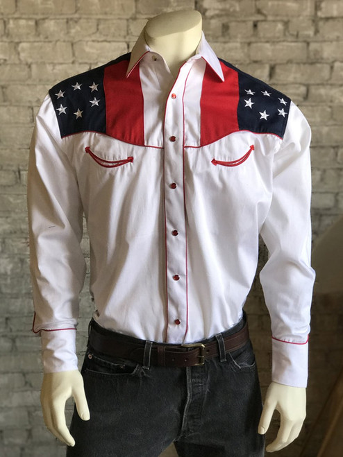Men's Vintage US Flag & Eagle Western Shirt