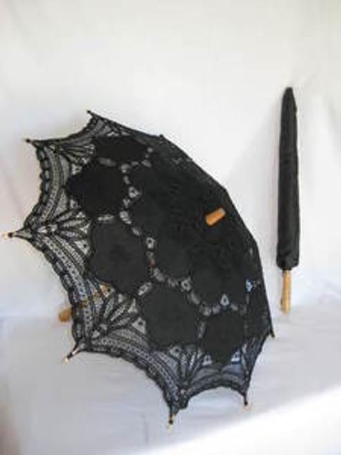 Battenburg Lace Parasol Black