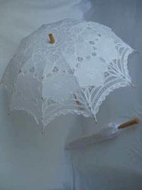 Battenburg Lace Parasol White