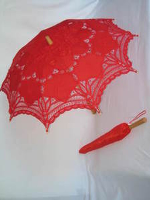 Battenburg Lace Parasol Red