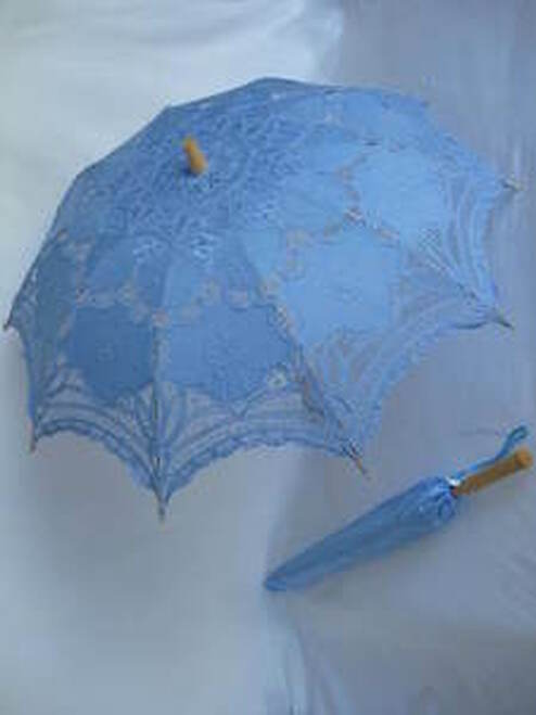 Battenburg Lace Parasol Light Blue