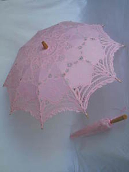 Battenburg Lace Parasol Pink
