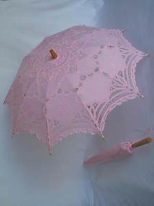 Battenburg Lace Parasol Pink