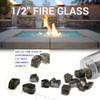 1/2 inch Black Reflecting Premium Fire Glass size