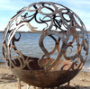 "52"" Custom Cut Fire Pit - WAVES - 30"" base -  290k BTU NG brass burner system - Shipping"